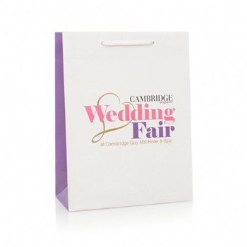 glossy white kraft  paper bag with logo printed for shopping/wedding