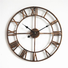 18' Iron Roman Numbers Medium Size Vintage Gold Copper Metal Wall Decorative Clock