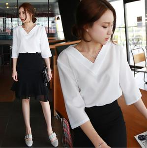 women blouse shirt white v neck tops spring 2019 Elegant office lady streetwear blusas women shirts