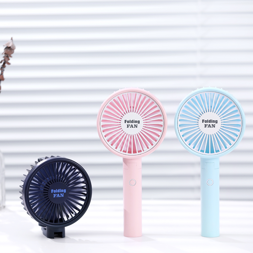 Factory wholesale 1200mAh desktop folding fan Korean best-selling portable fans rechargeable mini handheld fan with LED lights