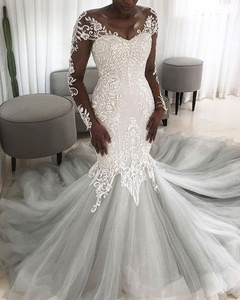 Latest Africa Illusion Long Sleeve Mermaid Wedding Dresses Bridal Gowns