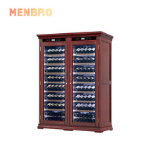 Wholesale Modern luxury Compressor wine display cabinet thermostatic wood <strong>Shelves</strong> wine cooler fridge dual zone for living room