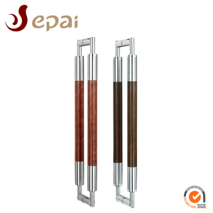 Middle Solid Wooden Stainless Steel Glass Door Handle