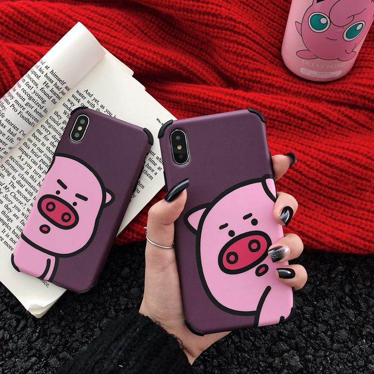 lovely cartoon pattern pig phone case cover for iphone apple 6s 7 8 x xs,for iphone xs max funny couple case tpu