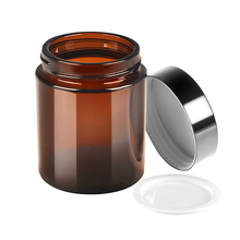 5g 10g 15g 20g 30g 50g 100g 250g Empty Amber <strong>Glass</strong> Round <strong>Jars</strong> bottles with White Inner Liners and black Lids