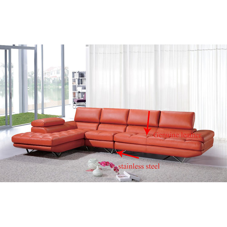 Orange Red Leather Modern Sofa For Living Room Comfortable L Shape Sofa -  Buy Leather Sofa Comfortable L Shape Sofa,Living Room Sofa Comfortable L ...