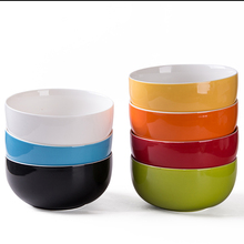 Chinese style high quality porcelain round glazed 7 colors home ceramic <strong>rice</strong>/noddle/soup 600ml bowls