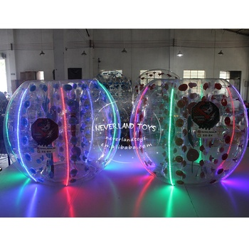 NEVERLAND TOYS Colorful LED bubble ball human inflatable bumper bubble ball inflatable ball with led light