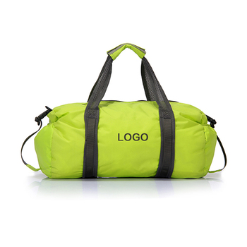 Custom logo lightweight durable waterproof polyester ladies travel young girls sports foldable duffel bag