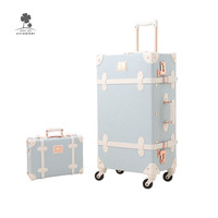 Travel Pu Leather Pink Vintage Suitcase Box Sets Cute Hand Carry-On Luggage For Women Makeup Cosmetic