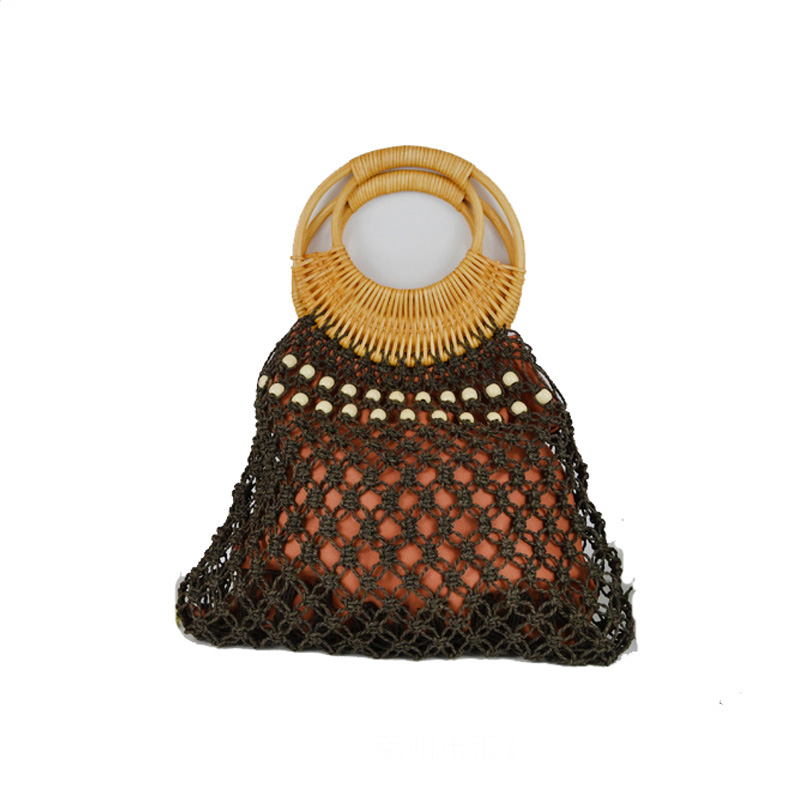 China Fashion Large Capacity Custom wheat straw hand-woven bag with Hollow <strong>Design</strong> for Summer in 2019