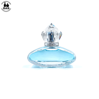 Flat round glass spray cristal perfume bottles 35 ml with luxury acrylic cap