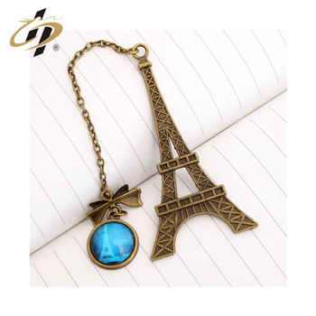 gold custom hot sale metal beautiful Paris France Eiffel Tower bookmark