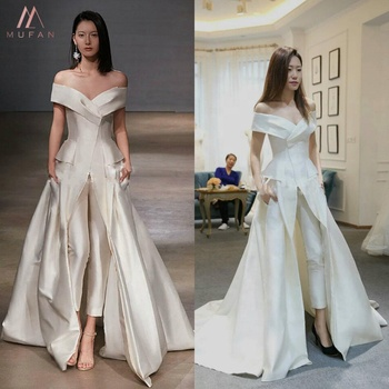 Sexy Jumpsuit White Evening Dresses robe de soiree Off Shoulder Satin Saudi Arabia Vestidos De Festa Party Dress