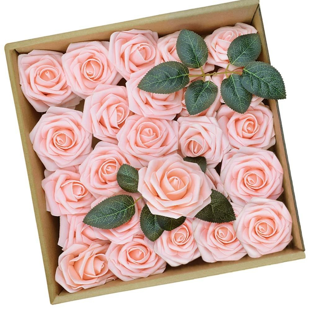 Artificial <strong>Flowers</strong> Blush Roses 25pcs Roses w/Stem for DIY Wedding Bouquets Centerpieces Arrangements