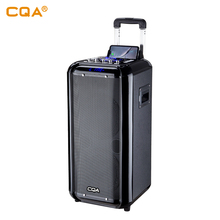 "2019 CQA new private model dual 10""  trolley wood speaker with wireless charge for mobile phone"