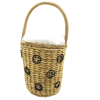 Hot sell custom natural corn husk beach straw bucket bag for ladies