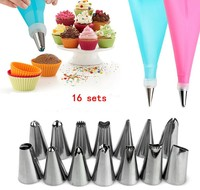16pcs DIY Silicone Ice Piping Cream Pastry Bag+14pcs Stainless Steel Nozzle Pastry Tips+Converter DIY Squeeze Cake Decorating To