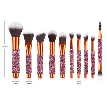 Newest sale professional 10 pcs Private Label  soft synthetic hair diamond handle makeup brushes set