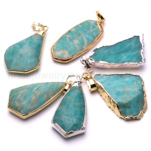 Small Size Raw Amazonite Pendants with Gold Silver Edge Gemstone Charms