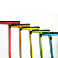 rubber broom with squeegee Soft Bristle telescopic rubber broom