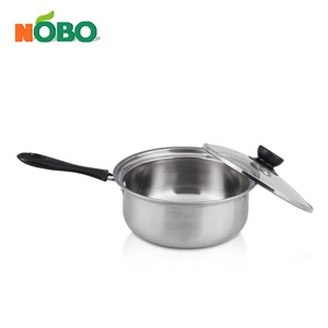 Factory Price 410 Stainless Steel Kitchen Sauce Pan With Glass Lids