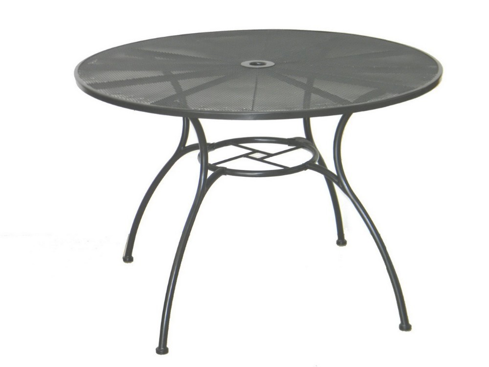 Cheap metal mesh outdoor dining round table and chairs set for Round dining table and chairs