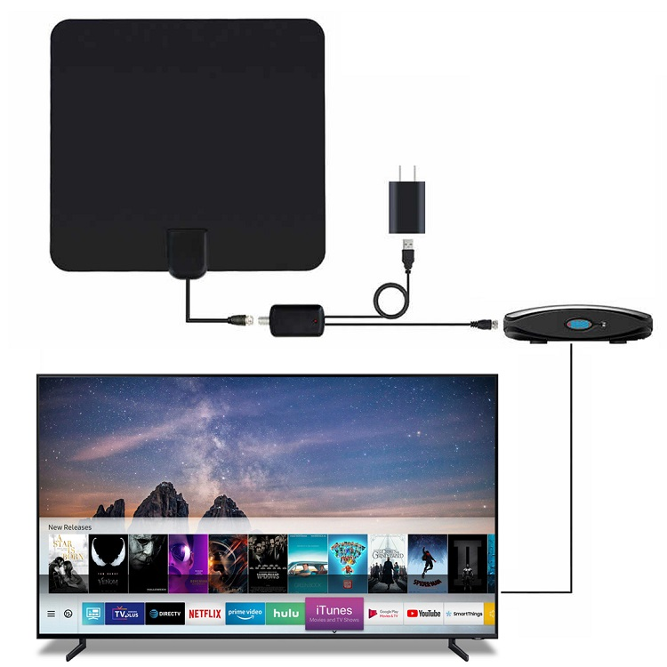 Remote control flat indoor <strong>antenna</strong> TV decoders 1080P digital HDTV 4K <strong>antenna</strong> for tv