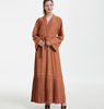 A6097 Muslim robes cardigan Saudi Indonesian women's Middle Eastern costume cardigan handmade pearl Brown robes