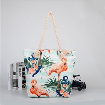 Single Shoulder Popular Printed Recycled Cotton Beach Bag