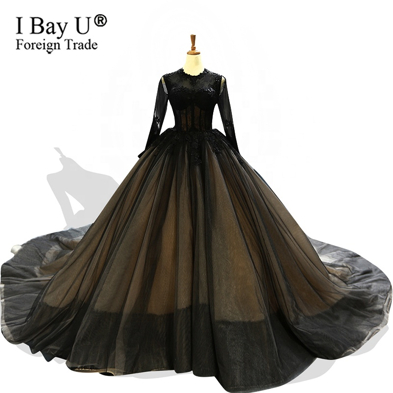 Amazing Black Wedding Dress Princess Long Tail Bridal Gown