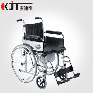 Manual Hot-sale folding steel commode wheelchair