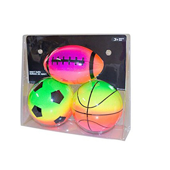 Inflatable Eco-friendly PVC material 5inch 3pack Rainbow Sport ball
