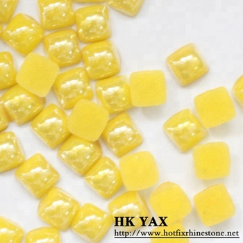 Y0901 4mm square ceramic pearl crystal, transfer pearls, pearl crystal for clothes hot fix pearls