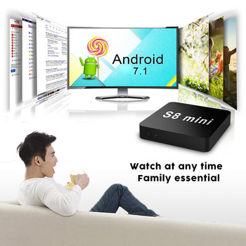 Hot Selling New Design S8 mini android quad core ddr 1gb ram 8gb rom 4k cheapest smart tv box 7.1