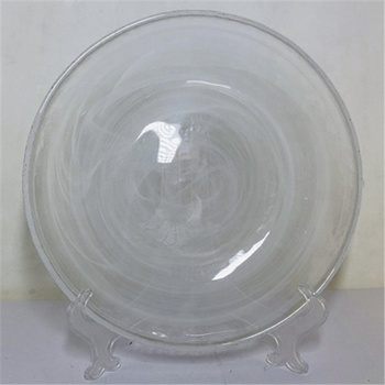 small glass plate with white cloudy effect