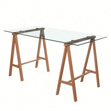 Modern Clear Glass Top Dining Table Beech Wood Frame Dining Tables Dining Room <strong>Furniture</strong>