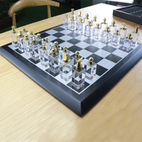 2019 Luxury wooden chess game set with Crystal pieces