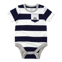 Allover stripes bodysuit baby in short sleeve with pocket baby romper