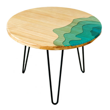 resin dining table chinese restaurant round river table <strong>furniture</strong>