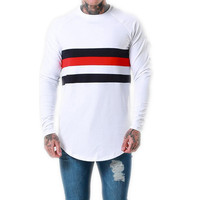 Wholesale Slim Fit Fitness Long Sleeve t-shirt Custom Mens White Cotton T Shirt