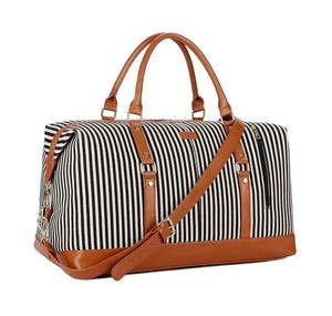 Overnight Carry Weekender PU Leather Trim Stripe Printed Canvas Tote Duffle Travel Bag