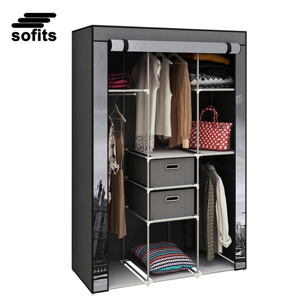 Portable bedroom non woven fabric wardrobe closet printed clothes storage wardrobe with 2 drawers