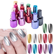 12 Colors Chrome Mirror Nail Polish Gold Silver Red Green Metallic Quick Dry Nail Polish