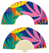 Cover Custom Logo Personalized Polyester Gift Bamboo With Small Bag Solid Color Hand Paper Fan