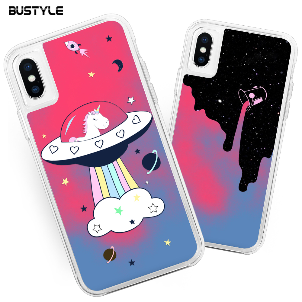 Fashionable Custom Neon Liquid Glitter Phone Cover for iPhone XS Case For iPhone XS MAX Shell Case For iPhone XR Case Cover