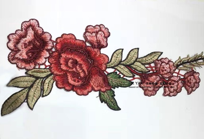 S0913 new high sale! custom handmade rose embroidery design for garments