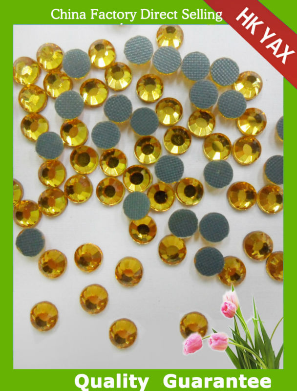S0807 transfer nailheads rhinestuds topaz hot fix strass china cheap rhinestone crown brooch SS10 3MM SS20 5MM