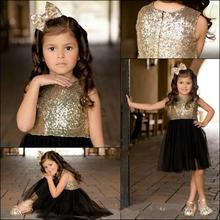 ZH2158Q Black Gold Sequins Tulle Flower <strong>Girls</strong> <strong>Dresses</strong> For Weddings O-neck zipper back Party Birthday Sparkly kids Pageant Gowns