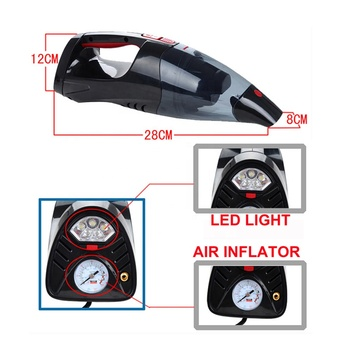 12v car vacuum cleaner portable car vacuum cleaner with air compressor light